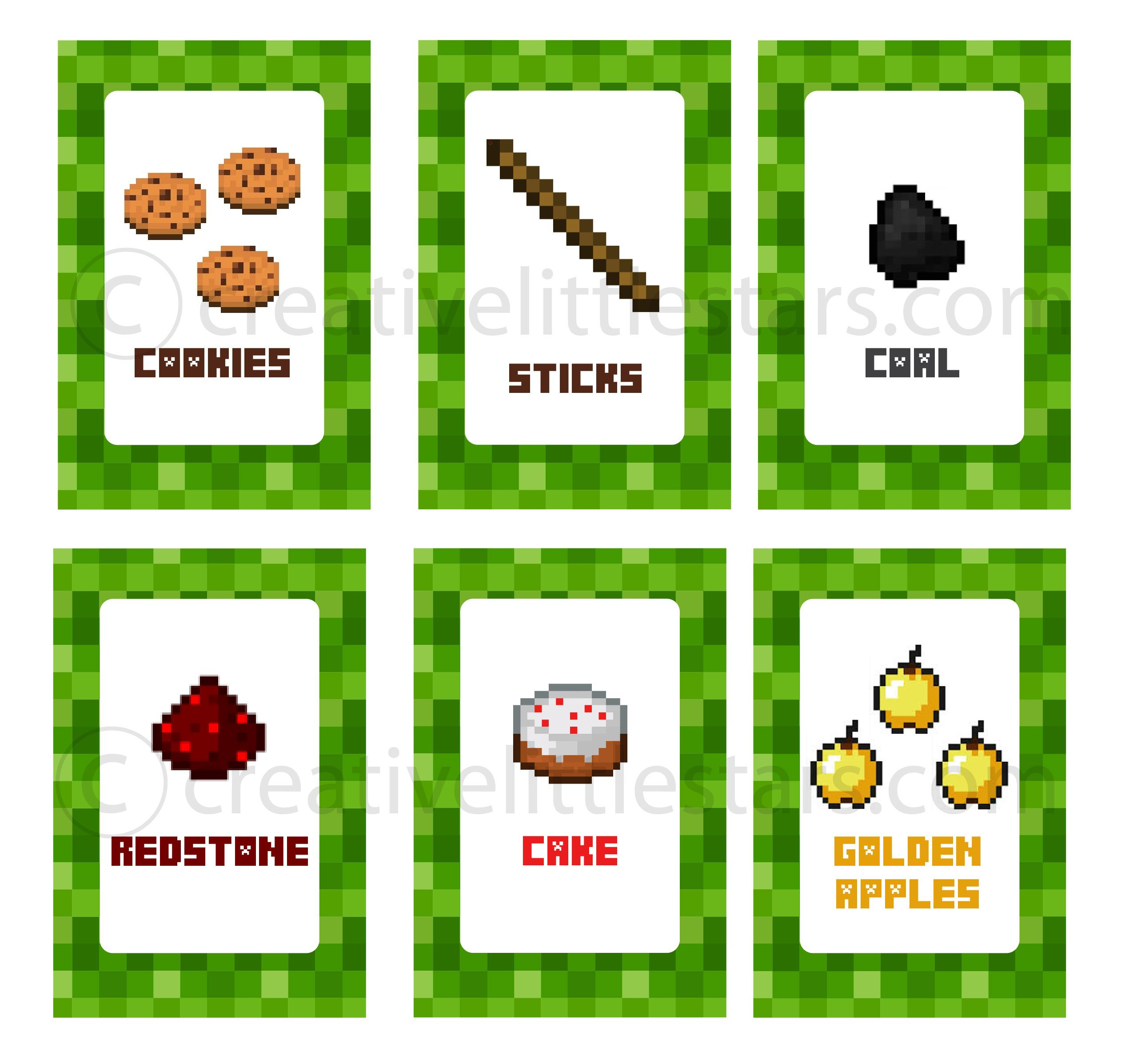 Printable Minecraft Food Labels Giovanna S 7th Birthday