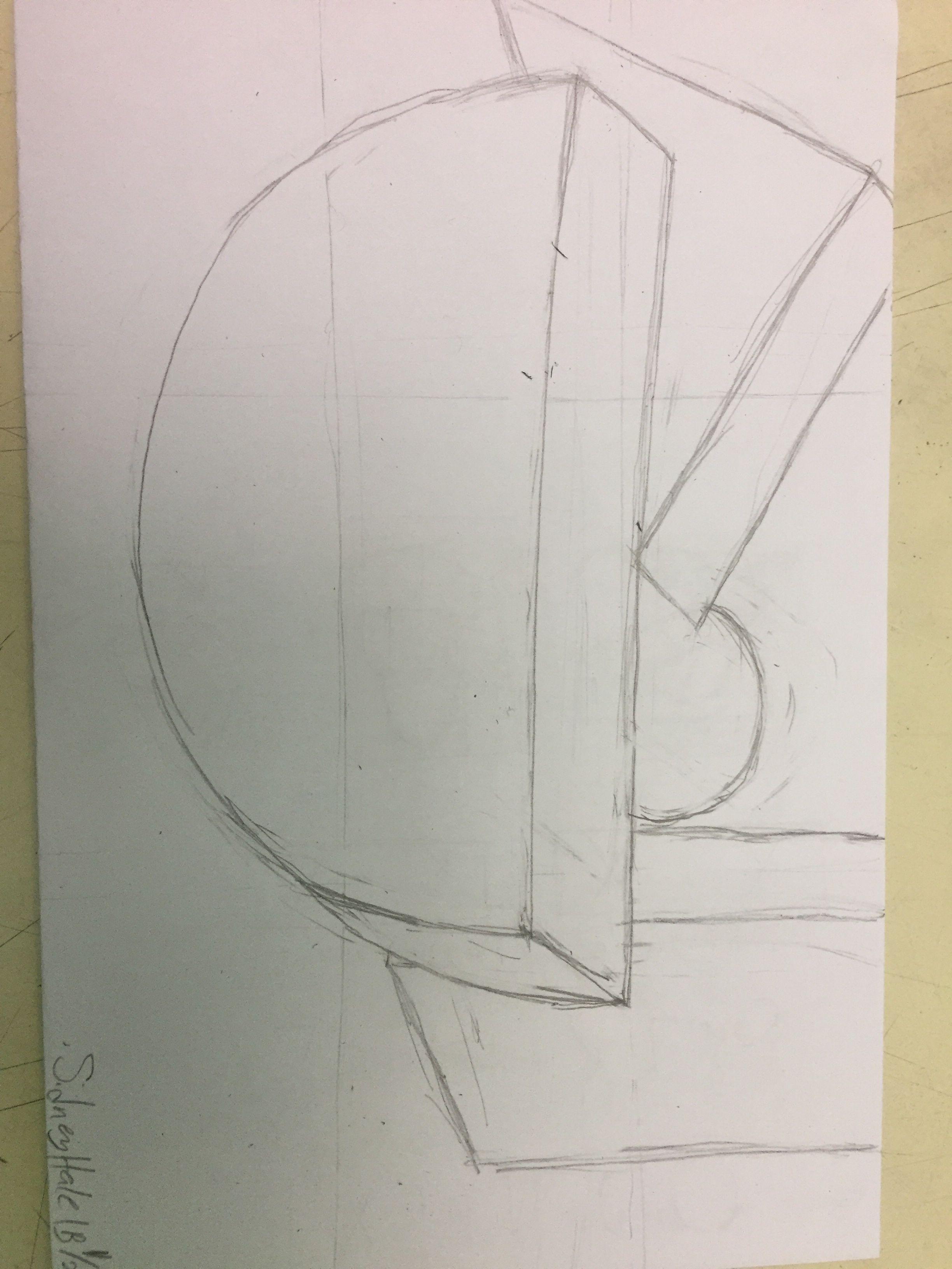 Still life wood block drawing 1/23/18