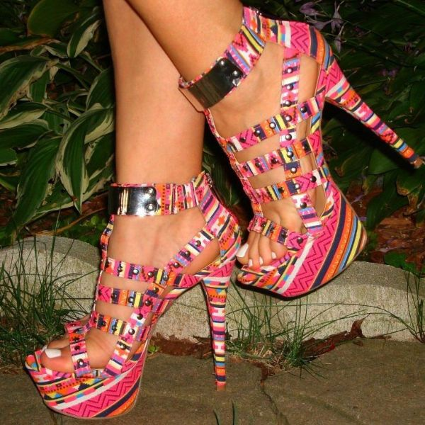 Tribal Print 6 Inch Studded Heels