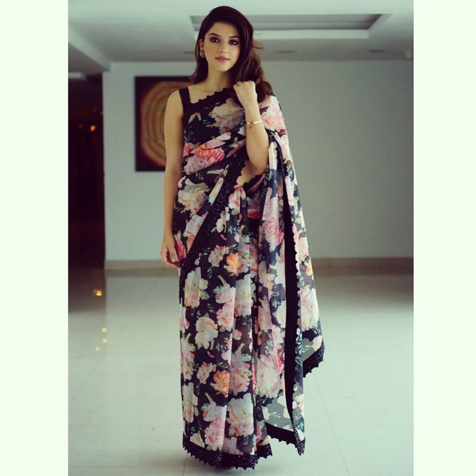 Mehreen Pirzada For Celekt India Launch In Nizamabad Saree Geethika Kanumilli Earrings A Designer Saree Blouse Patterns Indian Dresses Floral Print Sarees