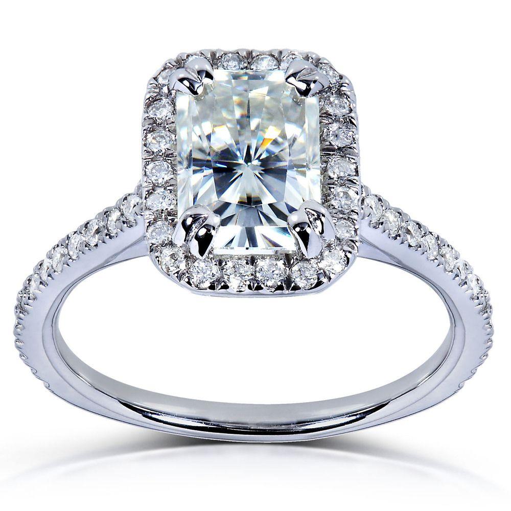 K gold radiantcut moissanite and ct tdw roundcut diamond