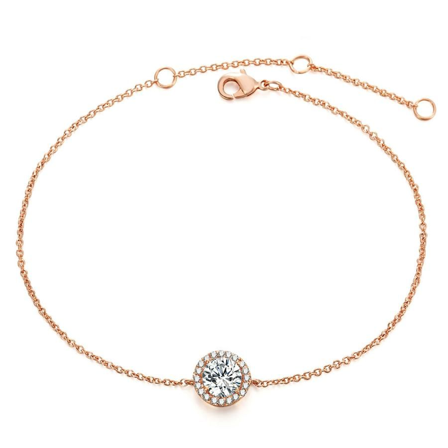 Jessica simple dainty halo crystal chain bracelet in