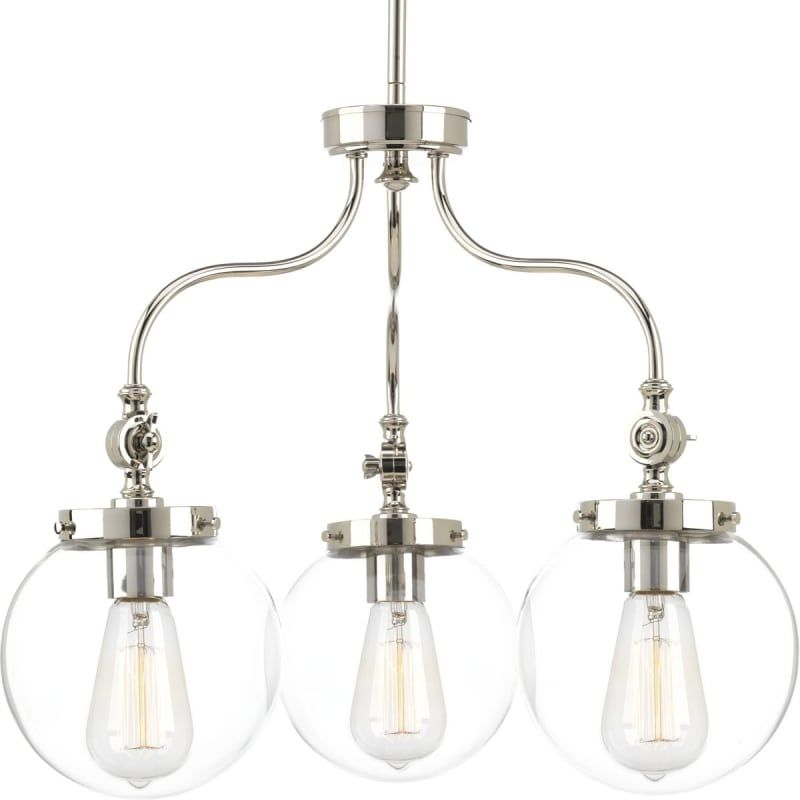 Progress Lighting P4769 Penn 3 Light 22 Chandelier With Clear Shade Polished Nickel Indoor