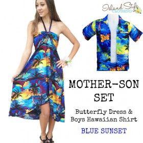 3e97c360253 Blue Sunset Mother & Son matching hawaiian shirt and dress luau ...