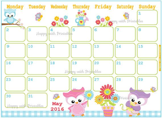Cute Calendar May  Printable  Stuff To Buy
