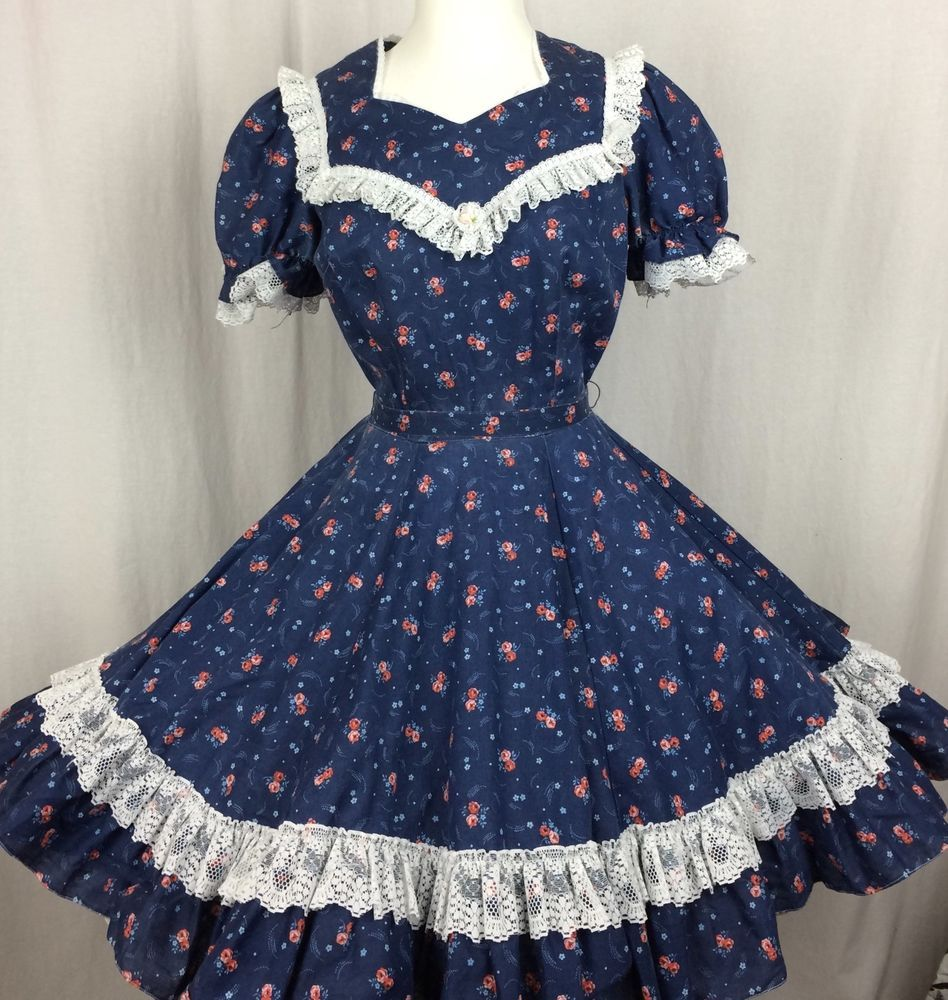 a9f2665f3c Square Dance DRESS VINTAGE PARTNERS PLEASE by Malco Modes Navy Red Floral  Lace  MalcoModes