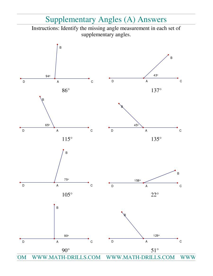 The Supplementary Angles A Math Worksheet Page 2 Supplementary Angles Angles Worksheet Geometry Angles