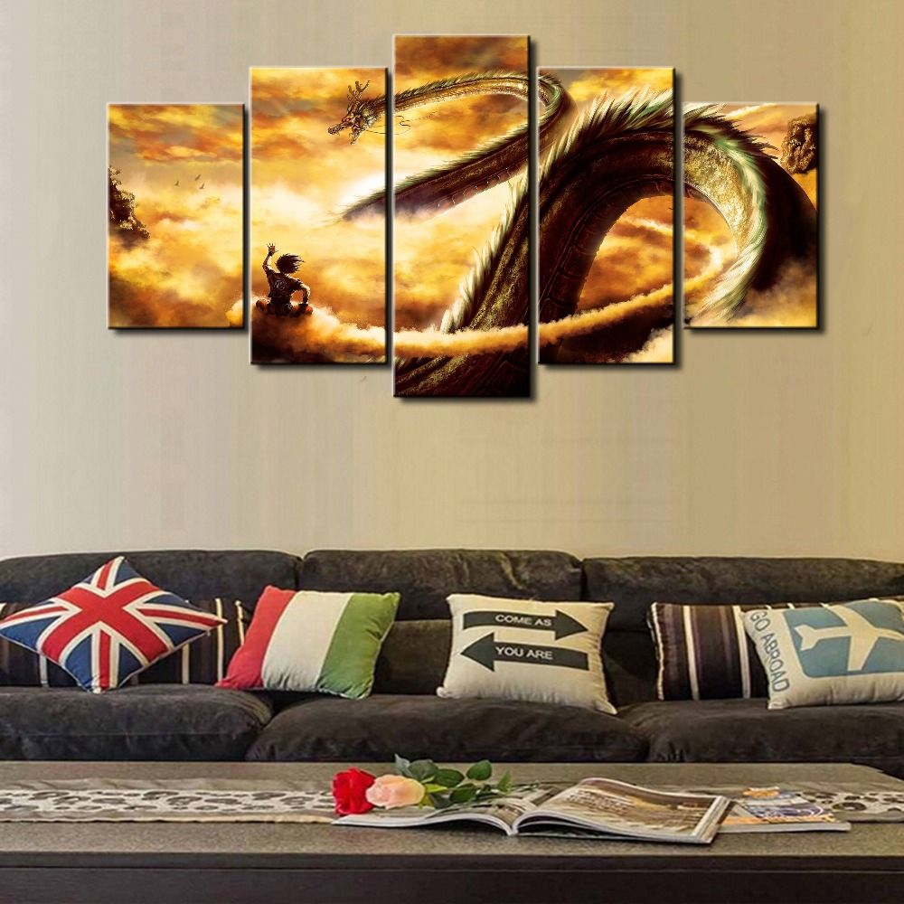 New Hot Sel 5 Piece Modular Home Decor Wall Art Dragon Ball Cuadros ...