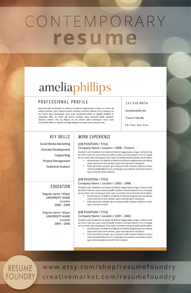 Modern Resume Template For Word, 1-3 Page Resume + Cover Letter +