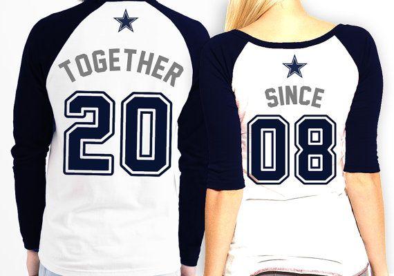 His and Hers matching Dallas Cowboys Raglan Shirts by PatsCustoms ... 8a29dfc3f