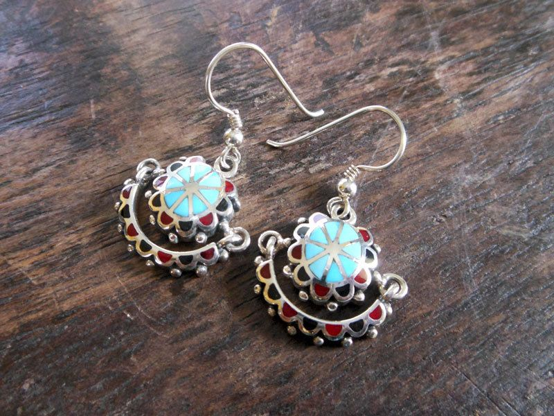 Unique Saturn Silver Drop Earrings Fractured With Turquoise,Saturn…