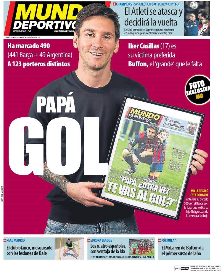 The Goal Daddy Today S Mundo Deportivo Cover On Lionel Messi Who Has Scored 490 Official Goals Against 123 Different Goalkeepers Barcelona Messi Goalkeeper