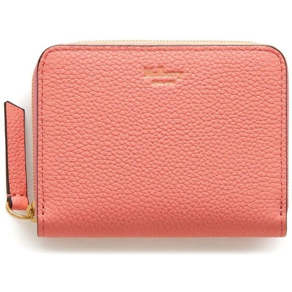 Mulberry Small Zip Around Purse ($205) ❤ liked on Polyvore featuring bags, handbags, macaroon pink, red purse, hand bags, pink bag, pink purse and mulberry bag