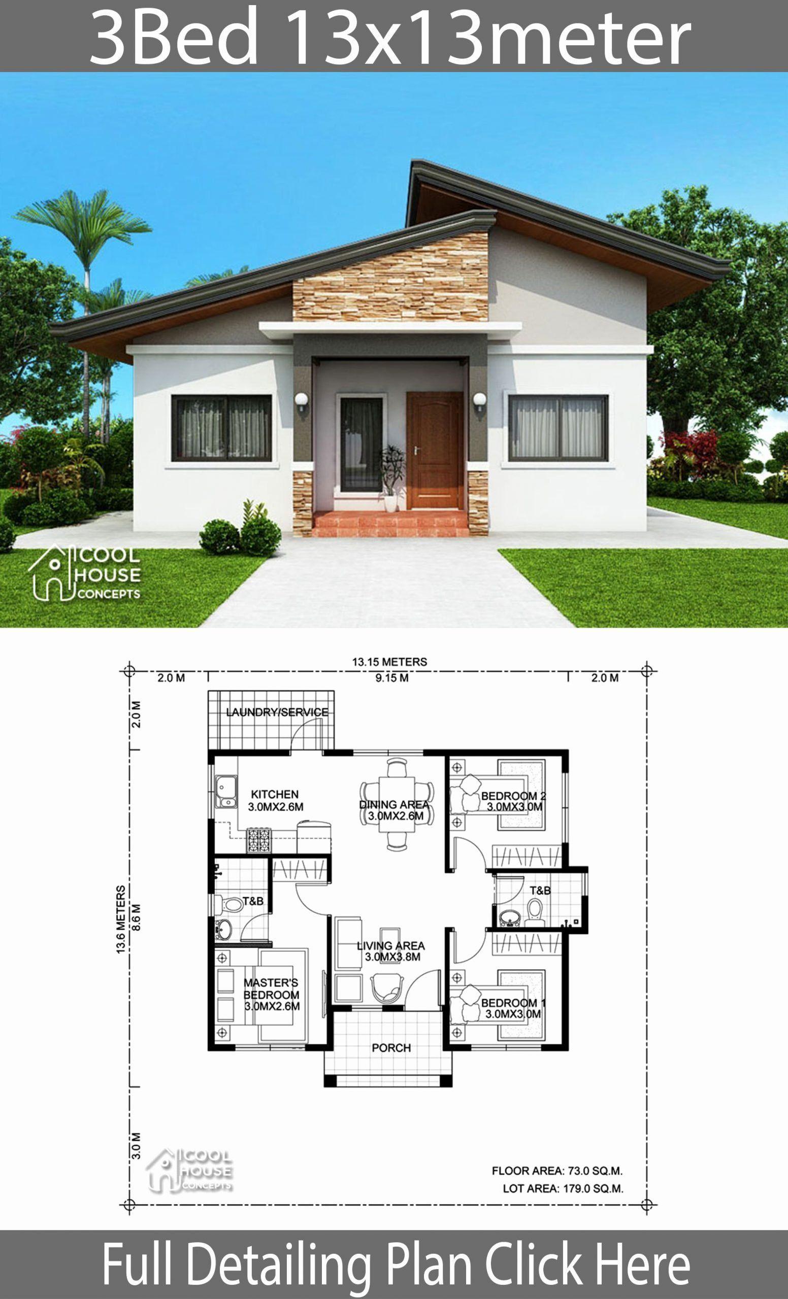 Three Bedroom House Floor Plan Elegant 5 Home Plans 11x13m 11x14m 12x10m 13x12m 13x13m Siban B In 2020 Bungalow House Design Modern Bungalow House House Front Design