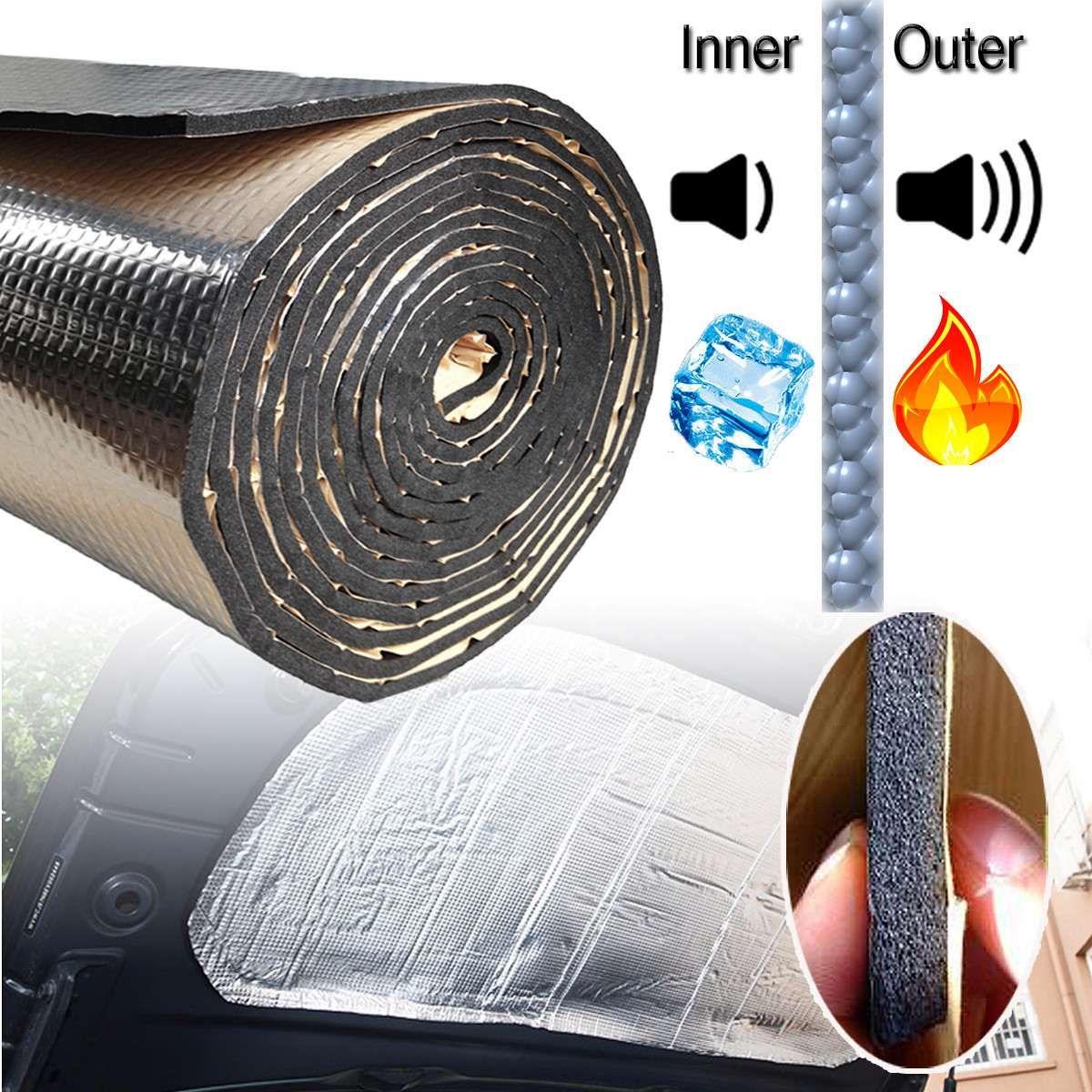 140cm X100cm Car Hood Engine Firewall Heat Mat Deadener Sound Insulation Deadening Material Aluminum Foil Sticker Noise Insulation Car Sounds Sound Insulation