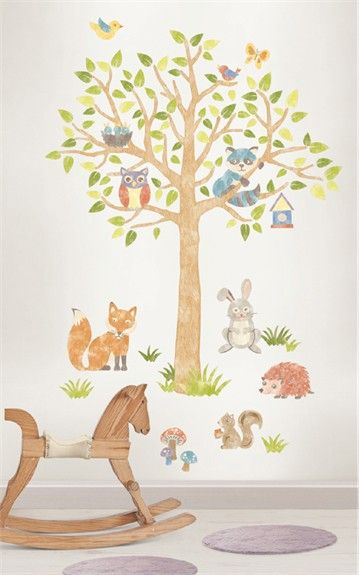 Woodland Tree Wall Decals Tree Wall Wall Decals And Children S - Nursery wall decalswall stickers for nurseries rosenberry rooms