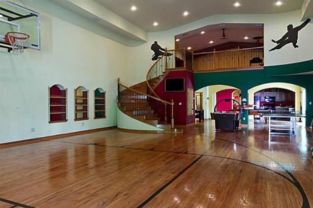 16 Homes With Basketball Courts You Can Buy Now Home Basketball Court Indoor Basketball Court Basketball Court Flooring