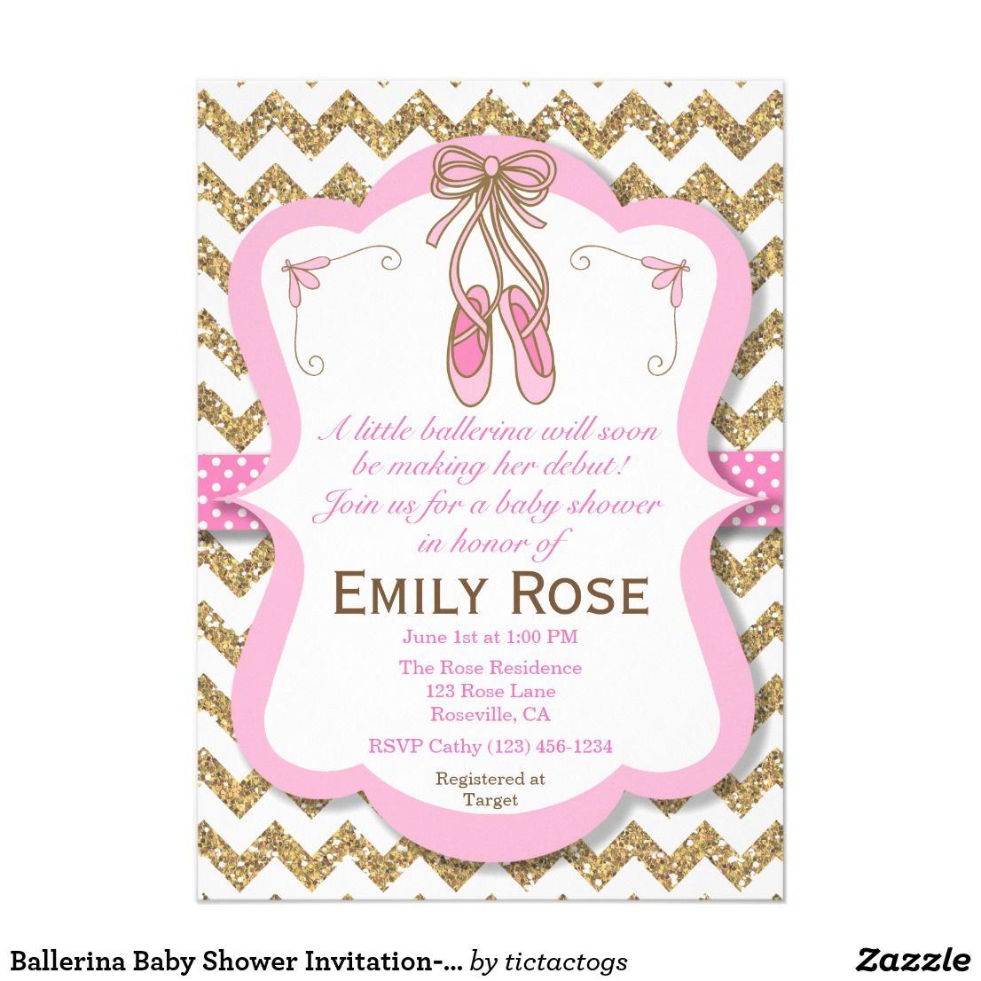 Ballerina Baby Shower Invitation- Baby Girl Invitation