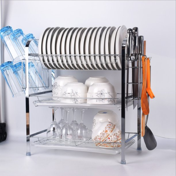 3 Tier Stainless Steel  Dish Drainer Rack,Kitchen Dish Drying Holder Counter Organizer Shelf,With Utensil Holder/Plate Drain Board/Cutting Board Bracket , Home Space-Saving - Walmart.com