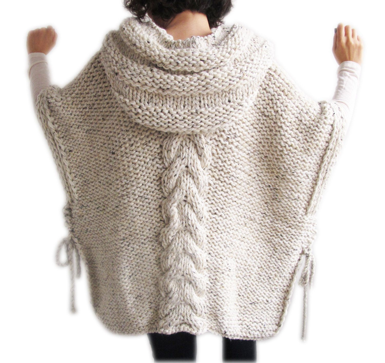 Cyber Week Sale !!! Tweed Beige Hand Knitted Poncho with Hood ...