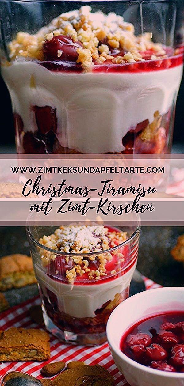 Photo of Einfaches Dessert für Weihnachten Kirsch Tiramisu mit Cantuccini