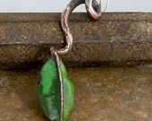 Asymmetrical Copper Spiral Earring with Leaf from Earring A Day Challenge 2015