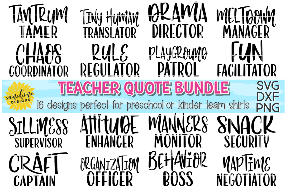 Teacher quote bundlepreschool kindergarten team svg dxf