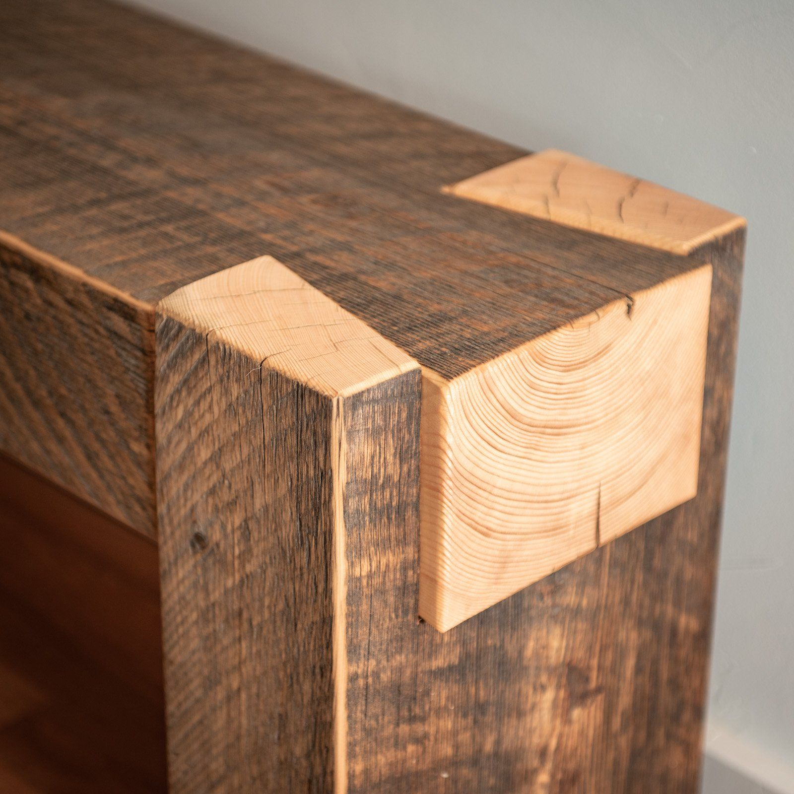 Beam Bench Dovetail From Reclaimed Spruce Reclaimed Wood Benches Wood Joinery Wood