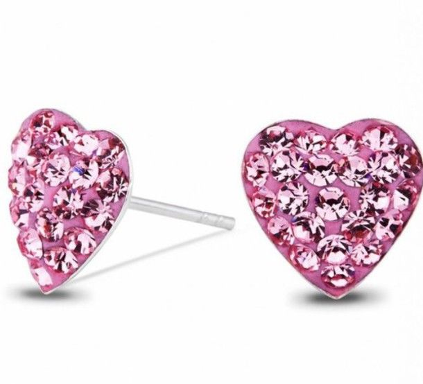 There Is 1 Tip To These Jewels Earrings Heart Swarovski Studs Pink Y