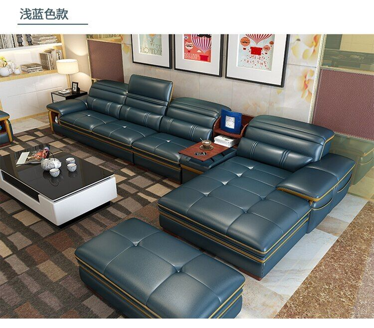 Living Room Sofa Storage Speaker Real Genuine Leather Sofas Salon Couch Puff Asiento Muebles De Sala Can Sofa Storage Living Room Sofa Set Genuine Leather Sofa