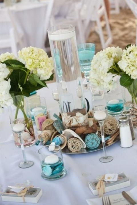 Beach theme wedding centerpieces center pieces