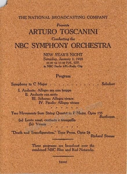Toscanini Arturo  Nbc New YearS Concert Program  In Cork