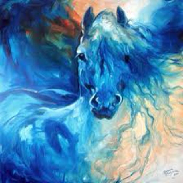 Abstract horse in blue