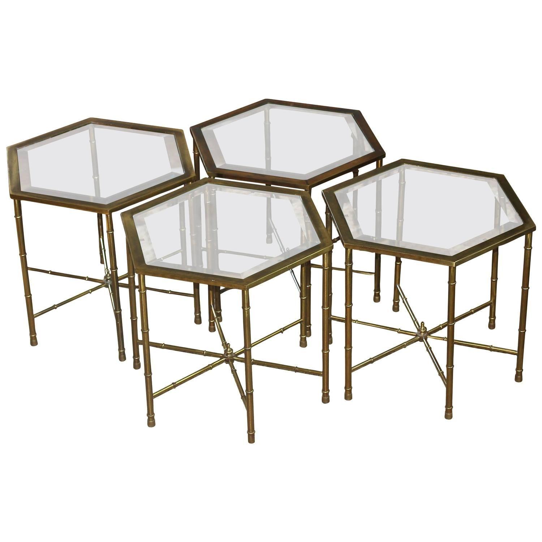 Four Mastercraft Faux Bamboo Hexagonal Brass Side Tables Brass Side Table Faux Bamboo Table [ 1500 x 1500 Pixel ]