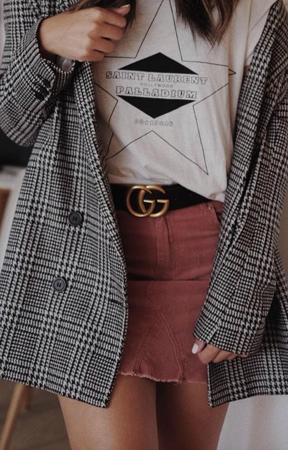 saint laurent graphic tee + gucci belt outfit + corduroy mini skirt + plaid  blazer jacket cb8f9554e1bc