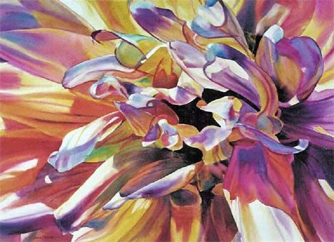 Amazingly talented artist Disarming Dahlia Watercolor Painting on Traditional Paper :: Ann Pember