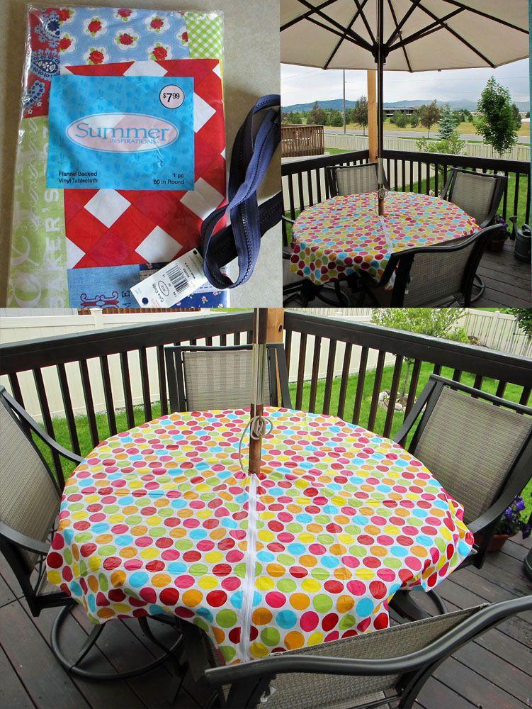 Super easy DIY umbrella table cloth. I purchased a 60