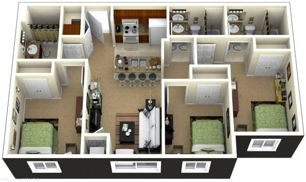 Image result for 2 bedroom floor plan in nigeria | Bedroom ...