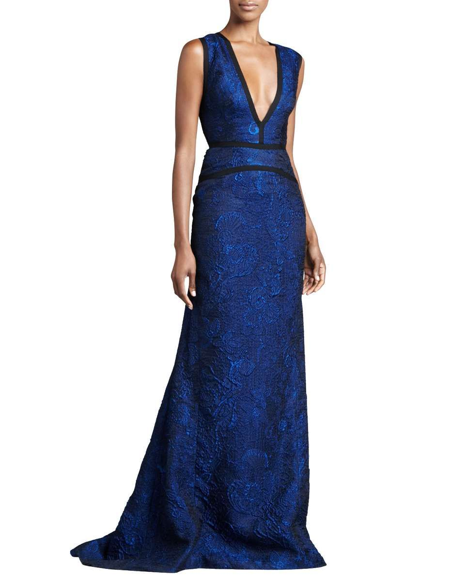 J. Mendel Sleeveless Plunging Jacquard Gown, Royal Blue