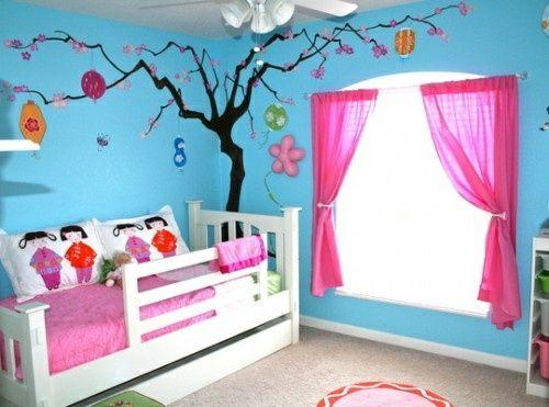 Kinderzimmer Streichen Wandgestaltung Idee Design Tafel Bunt Gardinen