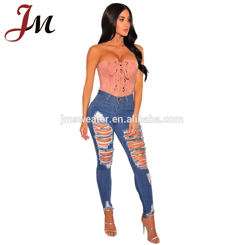 fashion lady denim design ripped sexy big ass girl new model jeans
