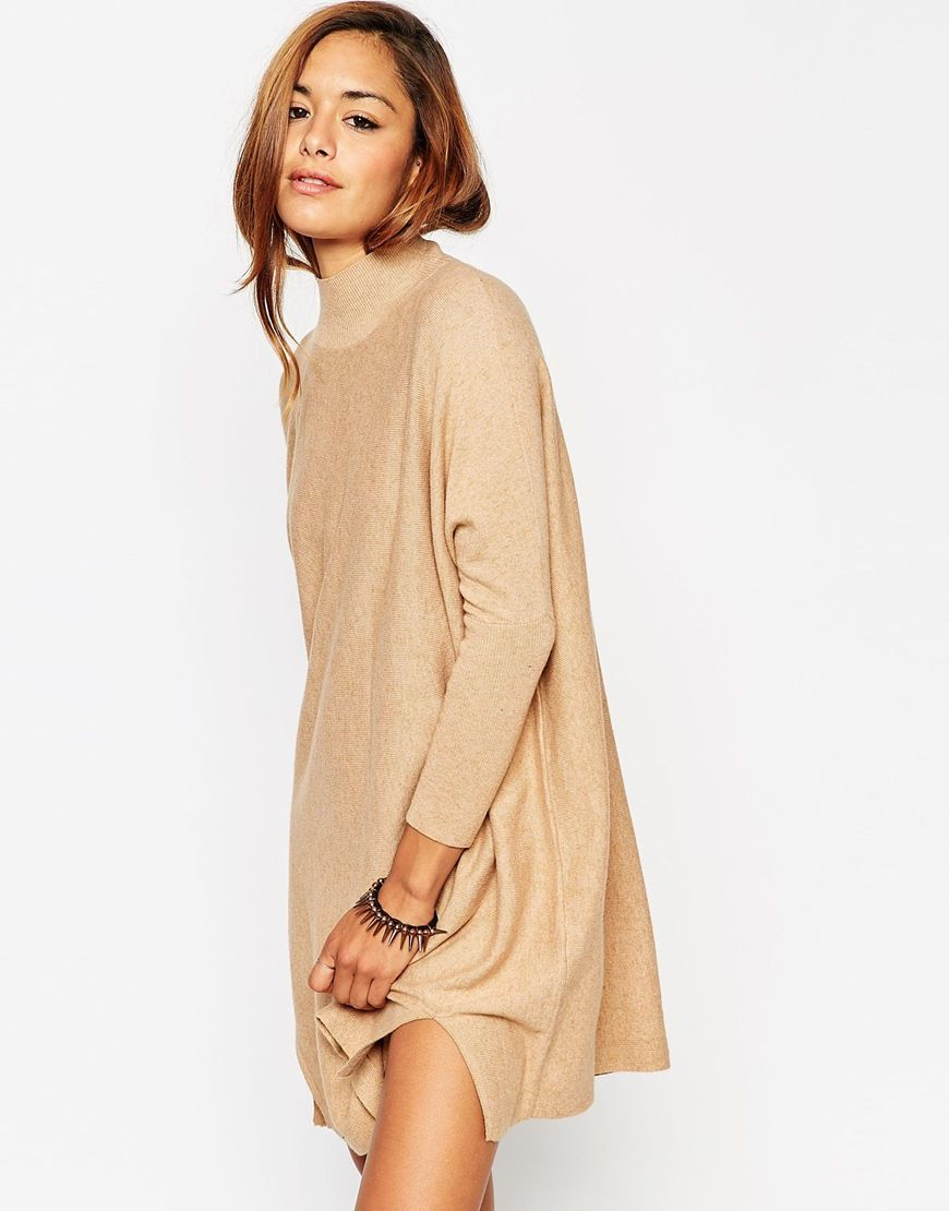 ASOS Tunic Dress In Knit With High Neck In Cashmere Mix | ASOS ...