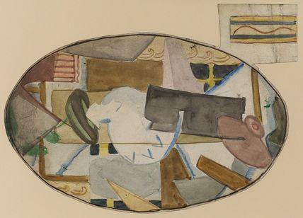 Cubist design for painted tray, Omega Workshop (1913-1919)