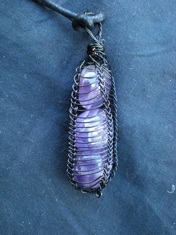 RESERVED FOR NZGIRL - Viking Knit Wire Wrapped Triple Amethyst ...