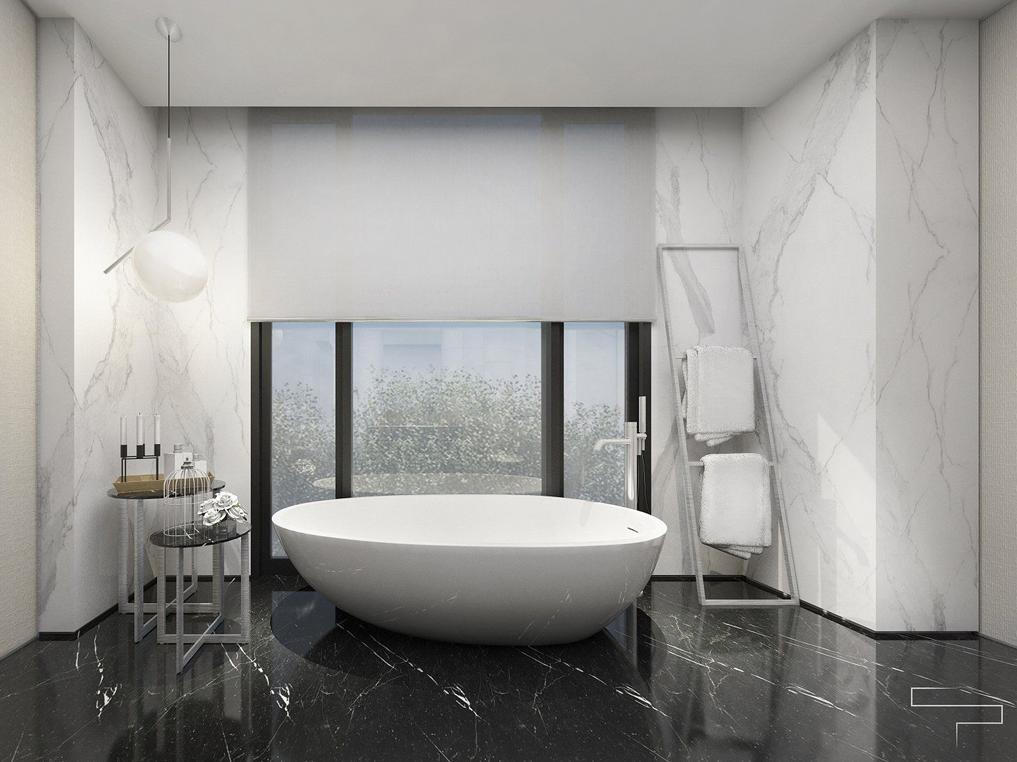 modern bathroom in black and white marble finish and oval white tub ...