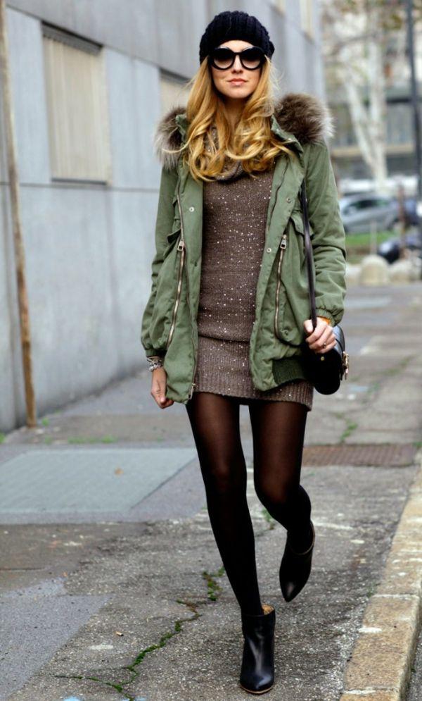 35f8aa548be7 une robe pull simple et un manteau vert