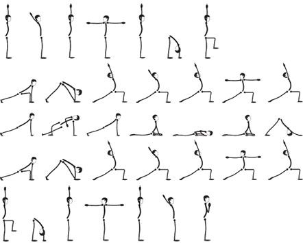 yoga sequence yoga  quirky stick men figures  yoga