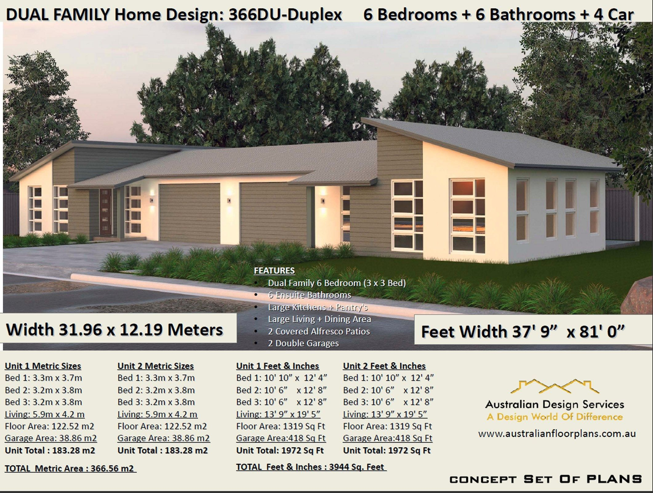 Spectacular Large Duplex House Plans 6 Bedrooms 6 Ensuite Etsy In 2021 Duplex House Plans Duplex House Duplex Design