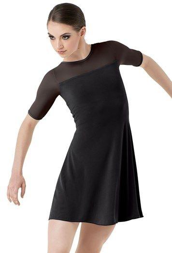 Short Sleeve Tunic Shift Dress Balera Dance Outfits Cute Dance Costumes Contemporary Dance Costumes