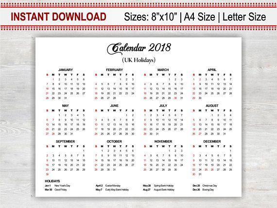 UK Holiday Calendar, Printable Calendar 2018, Yearly Calendar PDF - printable calendar pdf